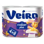 Бумага туалетная Veiro Standart Plus 2 слойная, 4шт/уп 30м