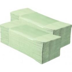 Бумажные полотенца ZZ-сложения зеленые 200 лист/уп
