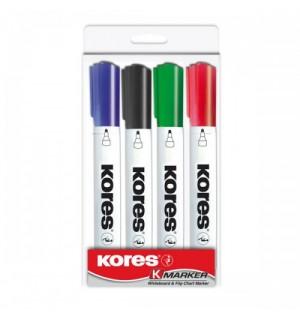 Набор маркеров для доски Kores 4 цв.