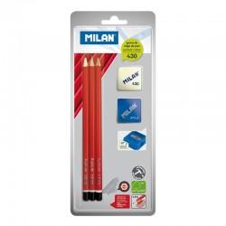 Набор карандашей Milan + ластик + точилка