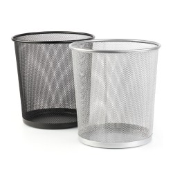 Корзина для мусора серебро металл. FORPUS